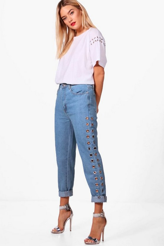Sophie High Waist Eyelet Mom Jeans