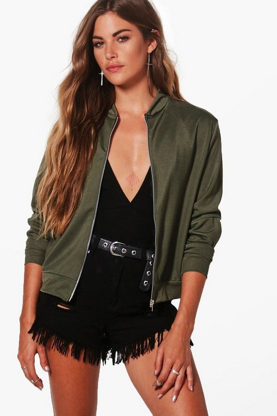 Cate Crepe Bomber With Zip Detail