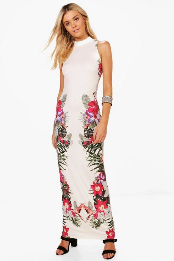 Dana Floral Column Print Maxi Dress