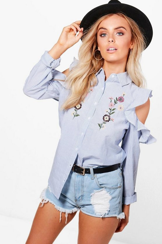 Charlie Cold Shoulder Embroidered Stripe Shirt