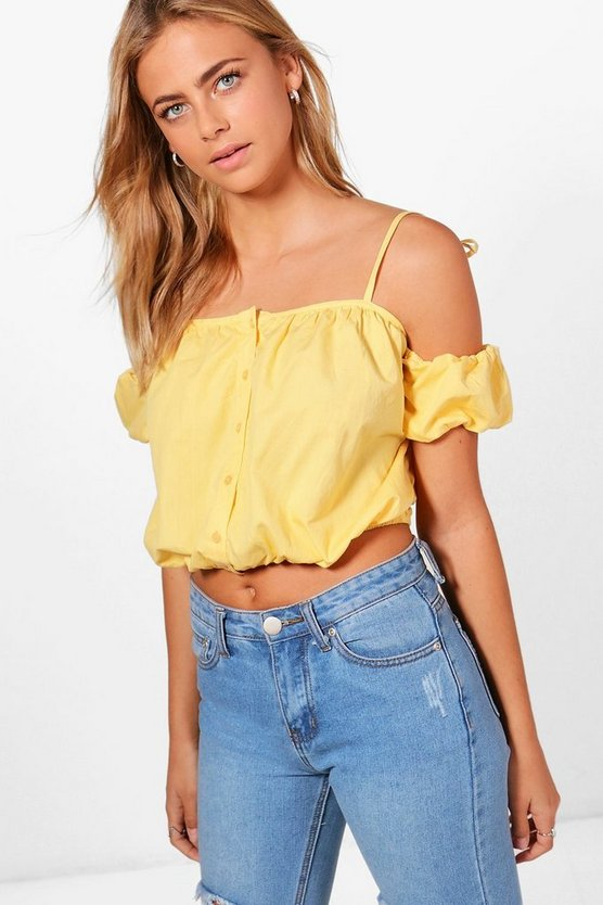 Cold Shoulder Ruched Woven Crop