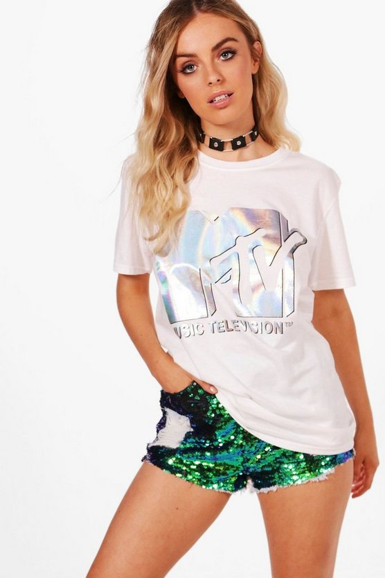 Paige Oversized License MTV Metallic Tee