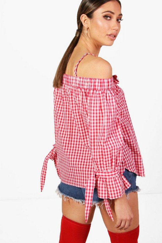 Layla Gingham Cold Shoulder Top