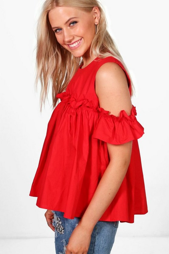 Lizzie Cold Shoulder Ruffle Top