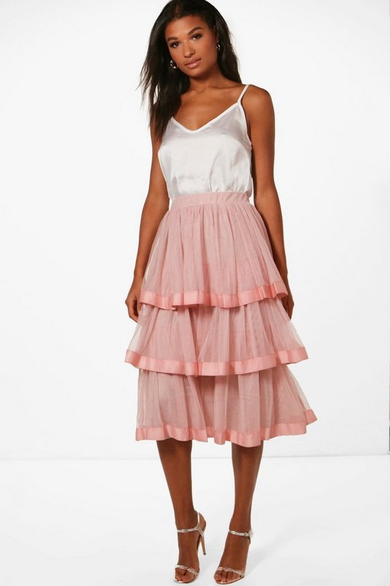Boutique Lia Tiered Midi Skirt & Cami Co-ord
