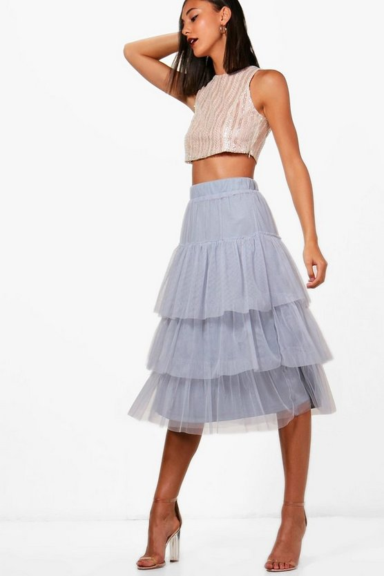 Tiered Mesh Skirt & Sequin Crop Co-ord
