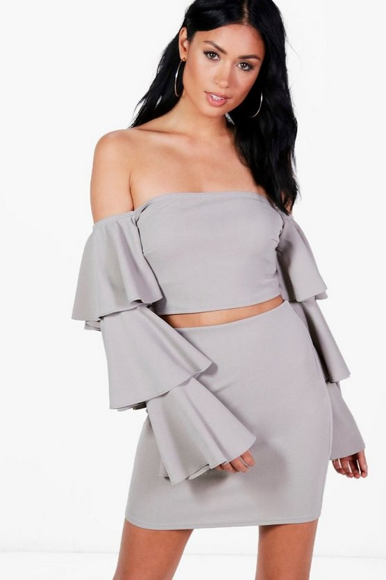 Frankie Frill Off Shoulder Crop&Skirt Co-ord
