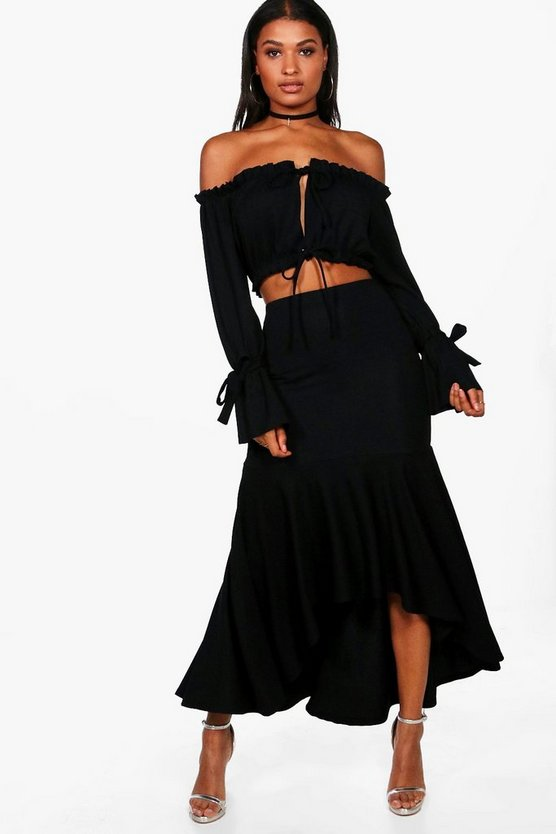 Louise Off Shoulder Crop & Frill Maxi Co-ord
