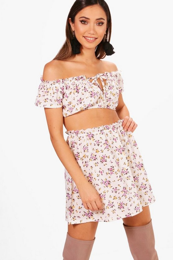 Rosie Floral Off Shoulder & Skirt Co-ord
