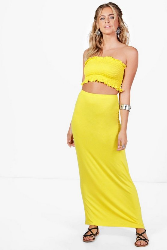 Cassie Shirred Bandeau & Maxi Skirt Co-ord