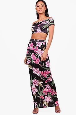 Zweiteiler mit Blumen-Print aus Kurztop und Maxirock - Boohoo.com