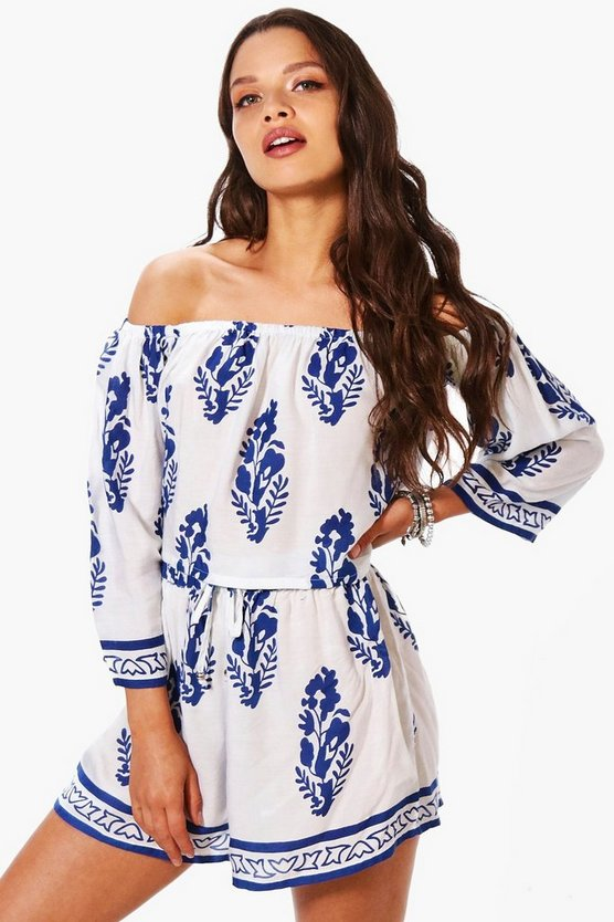 Josie Printed Off Shoulder Crop & Short Co-ord
