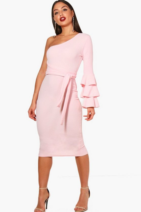 Izzy One Shoulder Frill Tiered Midi Bodycon Dress
