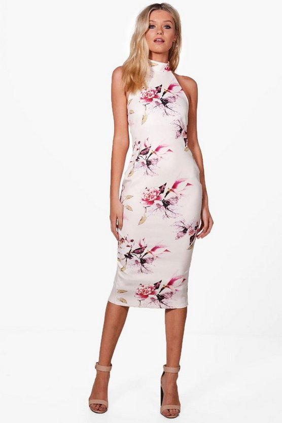 Georgina High Neck Racer Floral Midi Dress