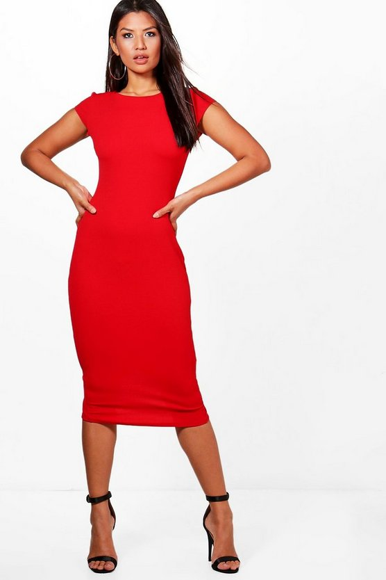 Alana Crepe Cap Sleeve Midi Bodycon Dress
