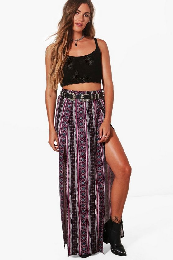 Annabel Bohemian Thigh Split Maxi Skirt