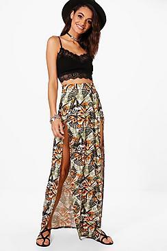 Jessica Maxirock mit tropischem Print und doppeltem Schlitz - Boohoo.com