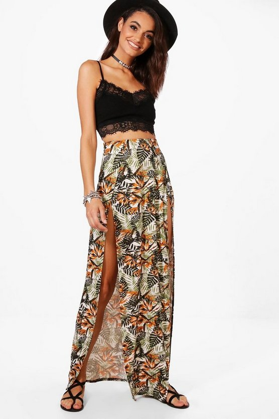 Jessica Tropical Print Double Split Maxi Skirt