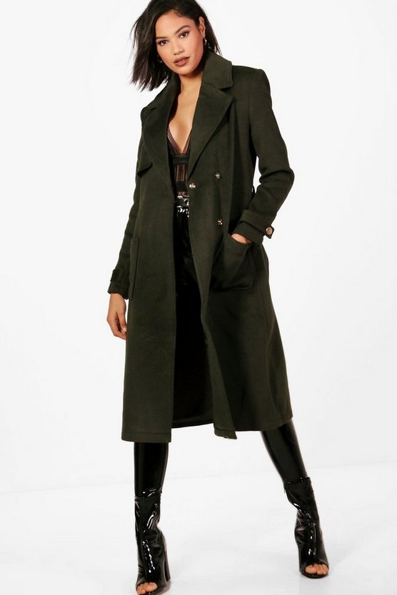 Emily Belted Wool Look Trench Coat