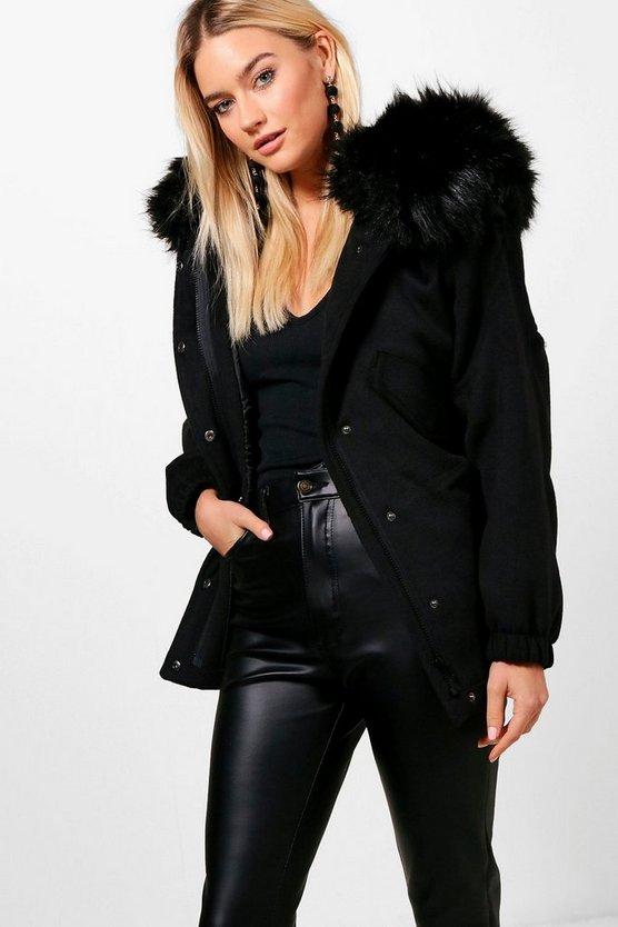 Zoe Faux Fur Trim Wool Look Parka