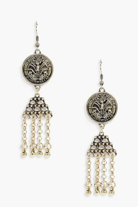 Amelie Coin Tassel Bead Earrings