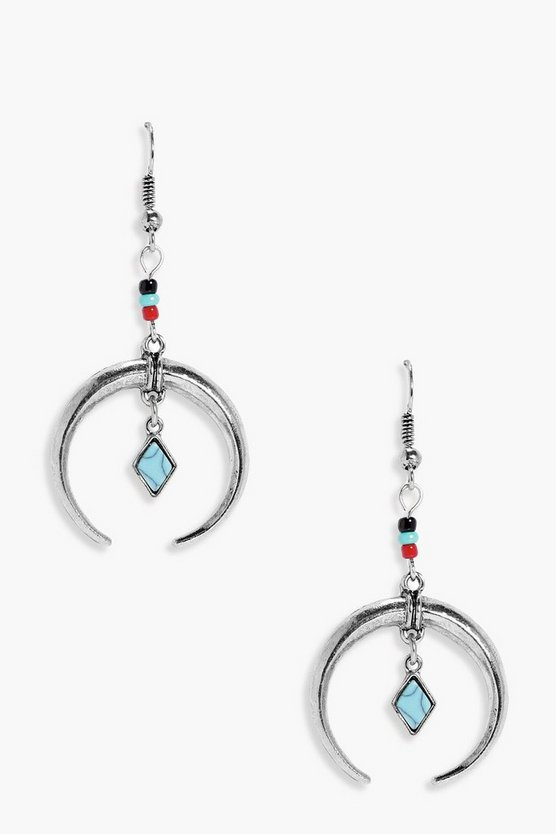 Eliza Statement Horn & Stone Earrings