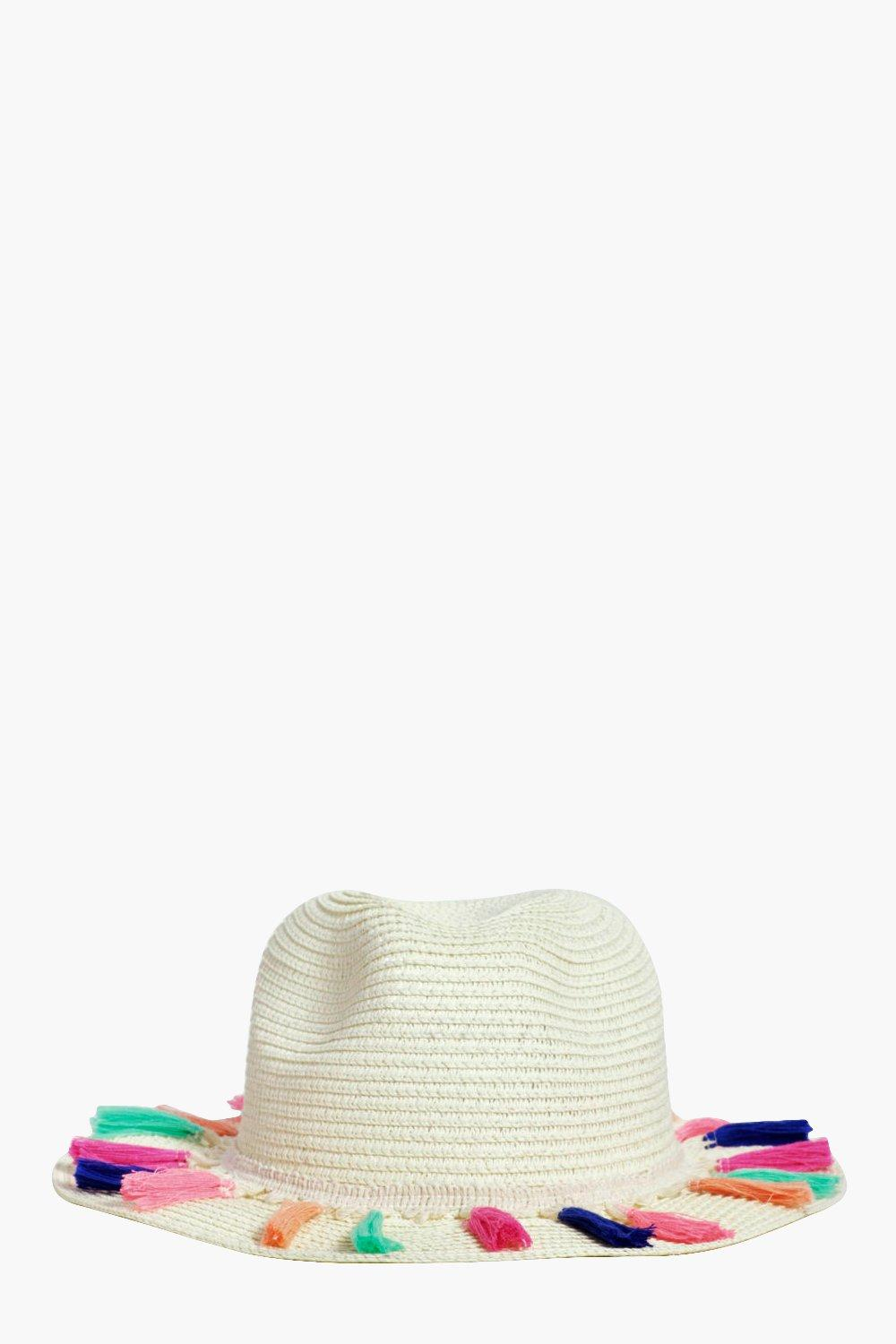 Multicolour Tassel Straw Fedora - cream - Jessica