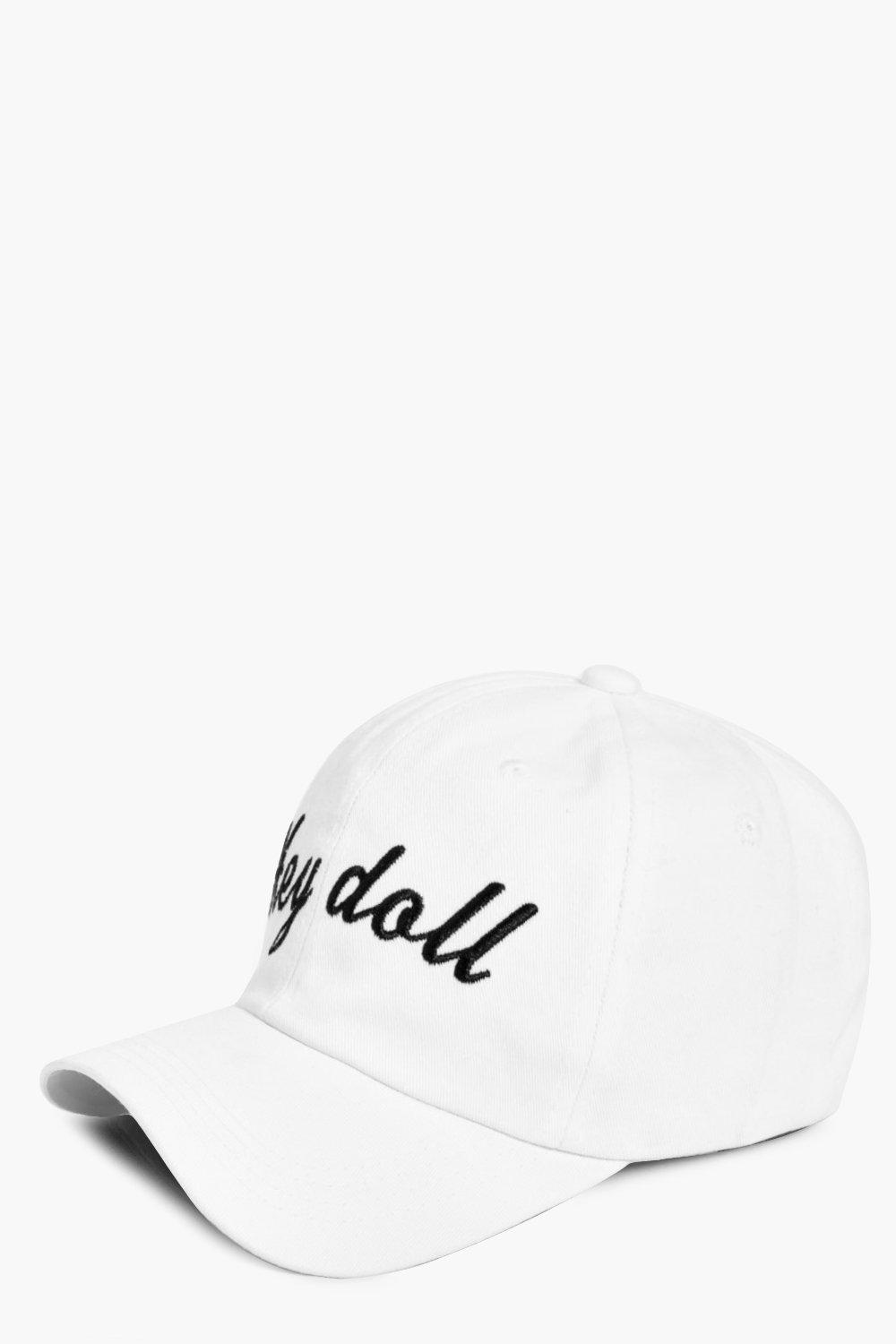 Hey Doll Slogan Baseball Cap - white - Nadia Hey D