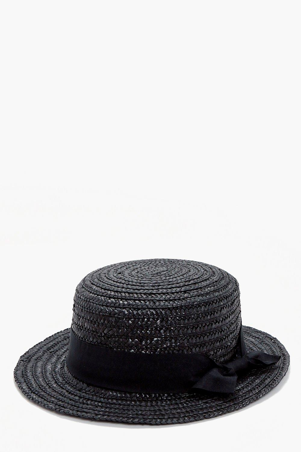 Small Brim Ribbon Detail Straw Hat - black - Kara