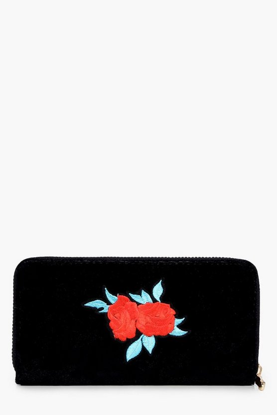 Eliza Velvet Embroidered Zip Around Purse