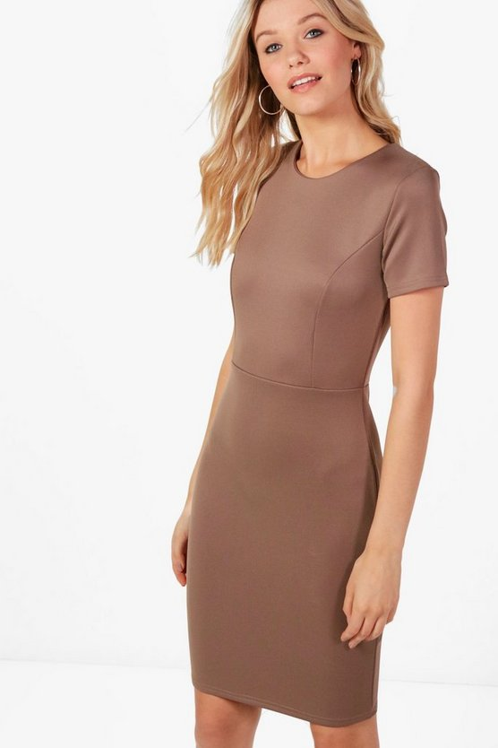 Leah Scuba Fitted Midi Tailored Dress