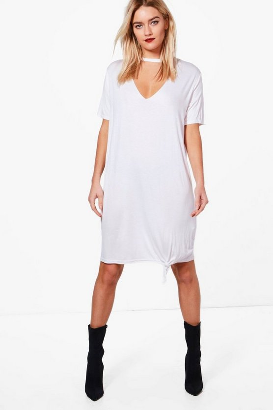 Katie Choker Oversized Knot Front T-Shirt Dress