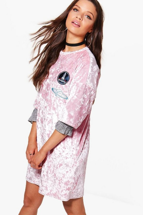 Kira Velvet Oversized Cosmic T-Shirt Dress