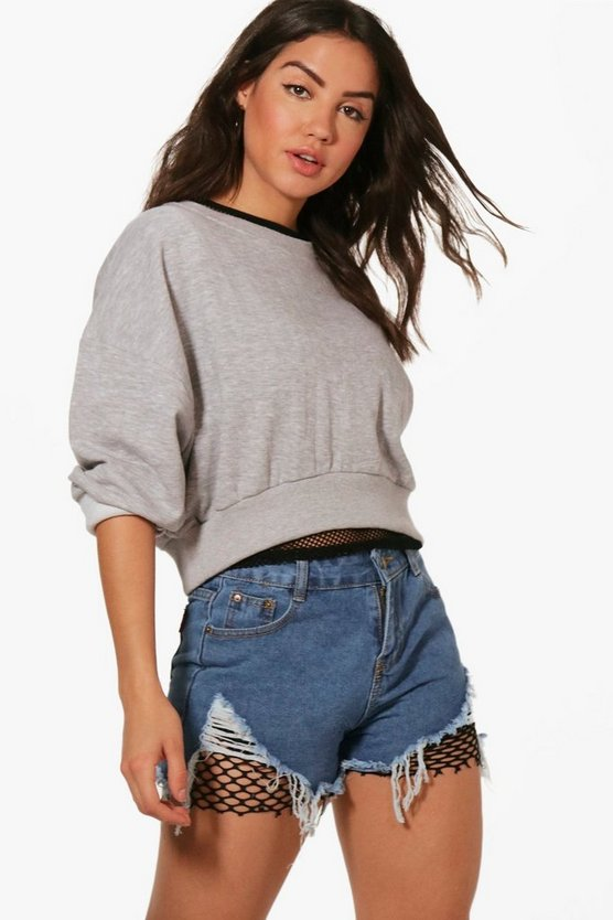 Amaya Fishnet Distressed Denim Shorts