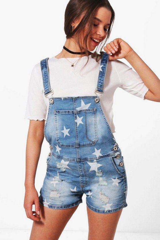 Alina Star Print Denim Dungaree Shorts
