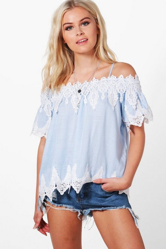 Laila Crochet Trim Cold Sholder Chambray Top