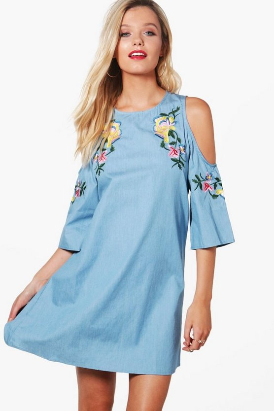 Sadie Embroidered Cold Shoulder Chambray Dress