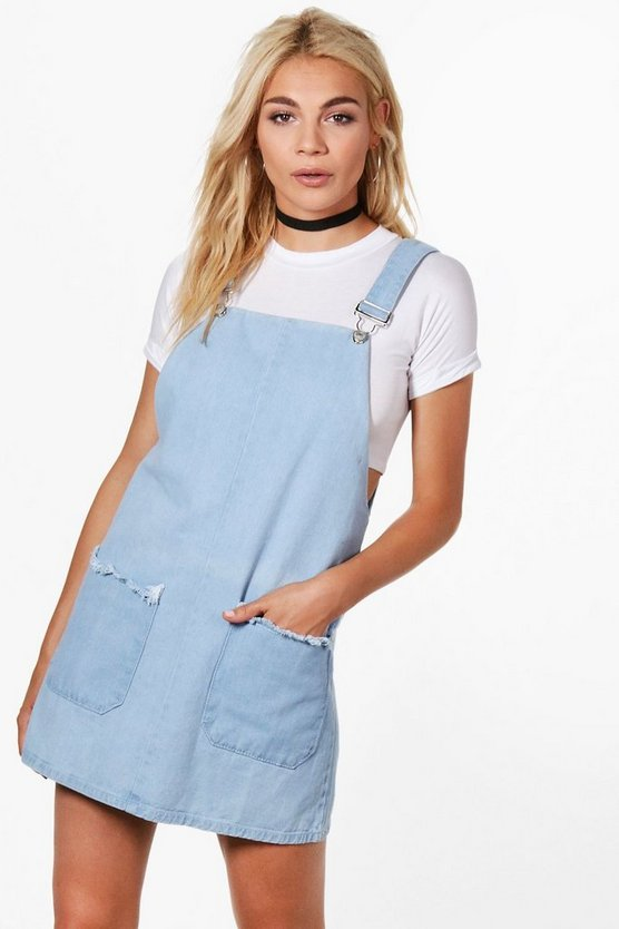 Claire Fray Patch Pocket Pinafore Denim