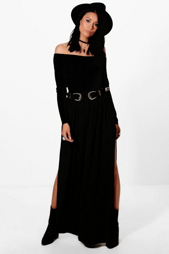 Petra Pocket Front Double Side Split Maxi Skirt