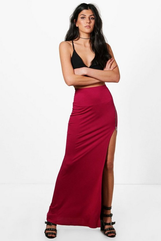 Imogen Thigh Split Zip Detail Maxi Skirt