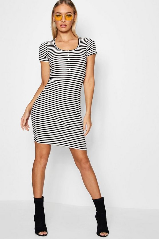 Ribbed Button Front Bodycon Dress