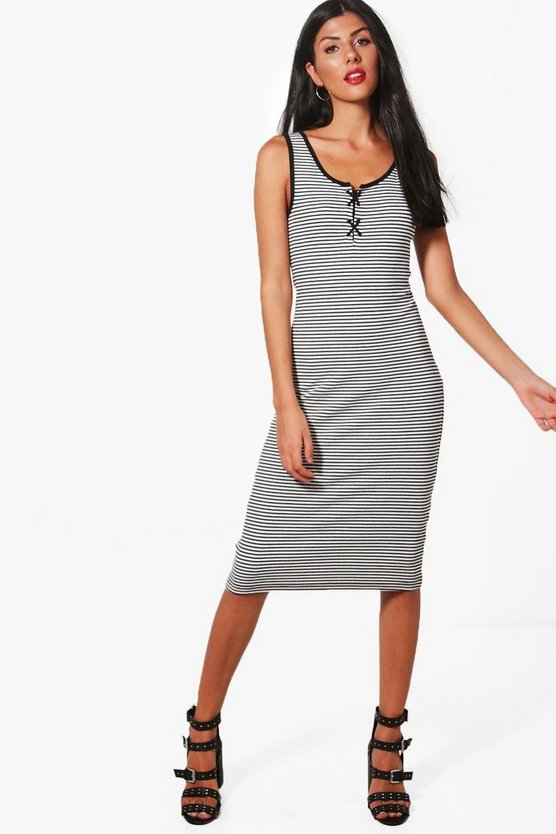 Jodie Lace Up Detail Striped Ribbed Dress