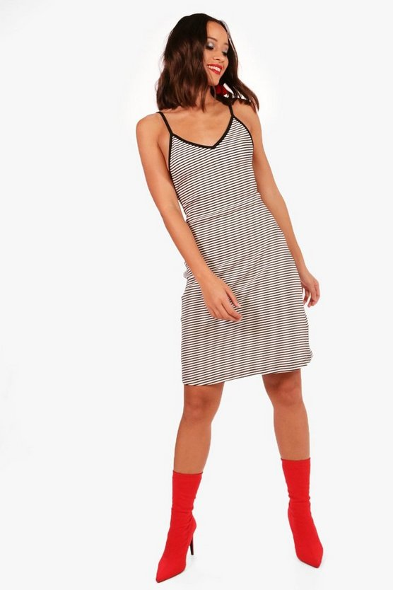 Freyja Striped Ribbed Midi Dress