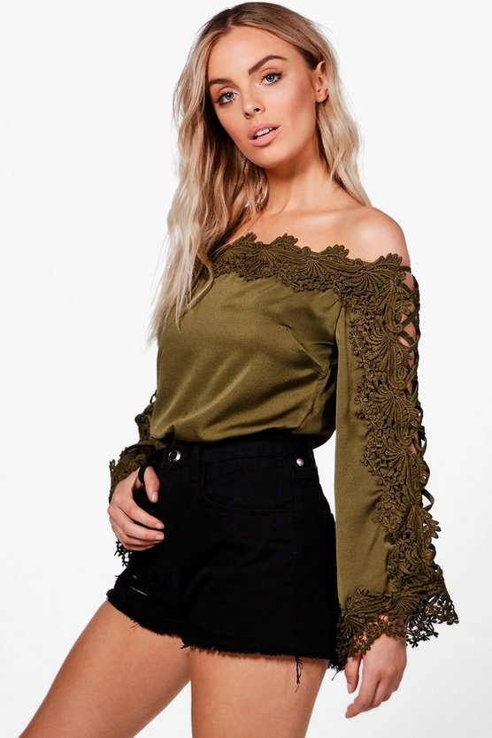 Eva Lace Trim Off The Shoulder Top