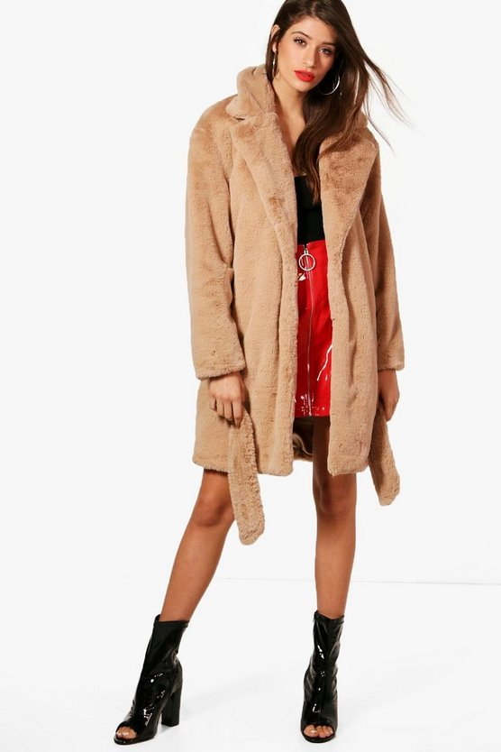 Emily Boutique Belted Faux Fur Coat