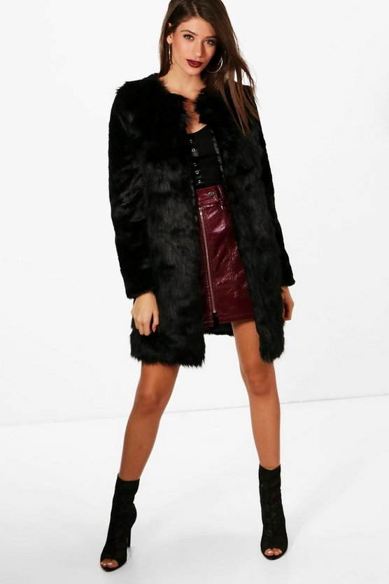 Louise Boutique Belted Faux Fur Mix Coat