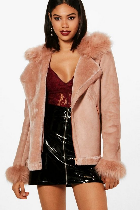 Boutique Faux Fur Collar and Cuff Aviator Jacket