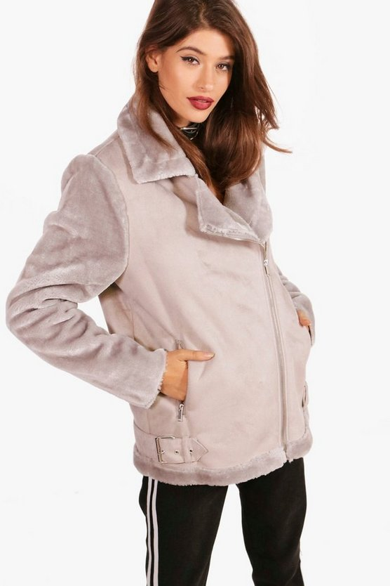 Faux Fur Sleeve Aviator Jacket