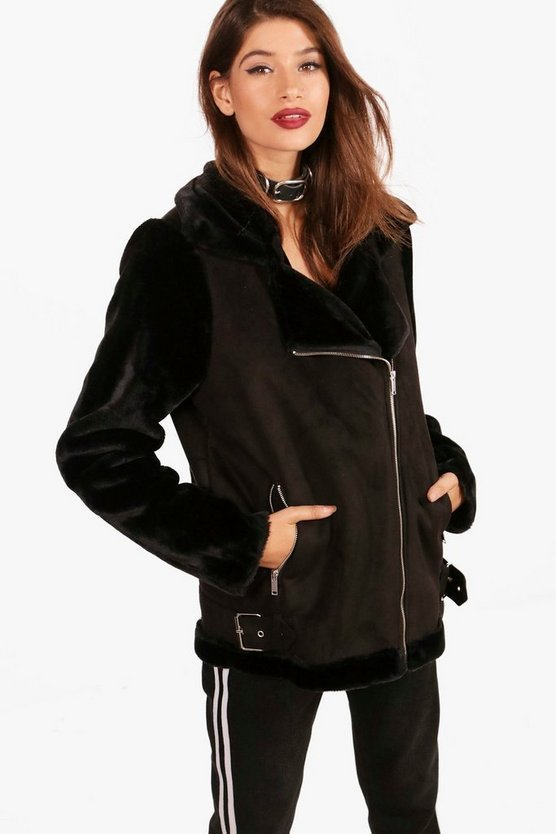 Alex Faux Fur Sleeve Aviator Jacket