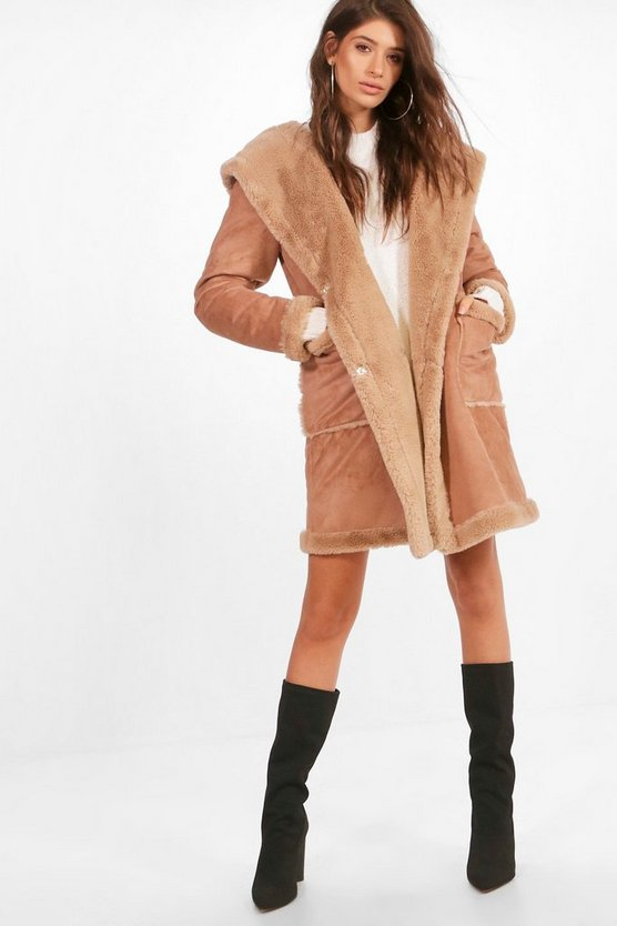 Sofie Bonded Faux Fur Hooded Coat